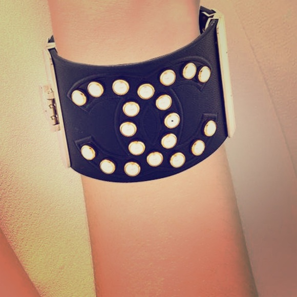 CHANEL Jewelry - Authentic Chanel leather and faux pearl cuff